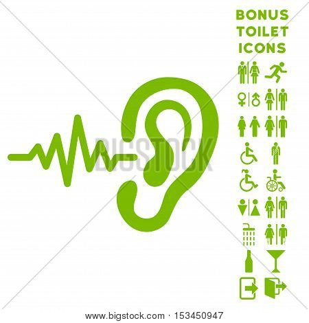 Listen Ear icon and bonus man and woman toilet symbols. Vector illustration style is flat iconic symbols, eco green color, white background.