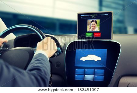 transport, modern technology, communication and people concept - close up of man driving car and receiving incoming call from woman on tablet pc computer
