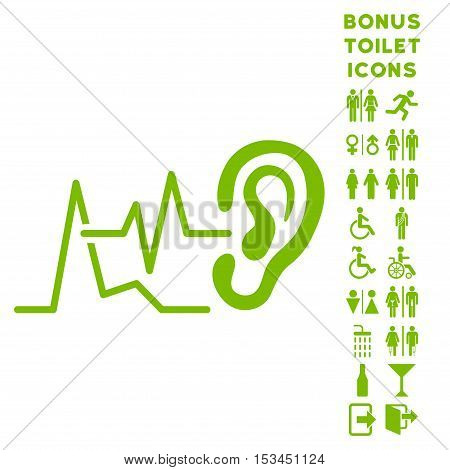 Listen Signals icon and bonus gentleman and woman toilet symbols. Vector illustration style is flat iconic symbols, eco green color, white background.