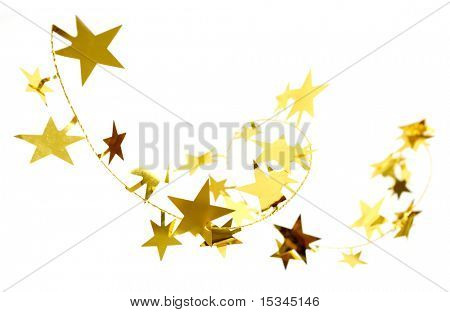 Golden stars isolated on white background