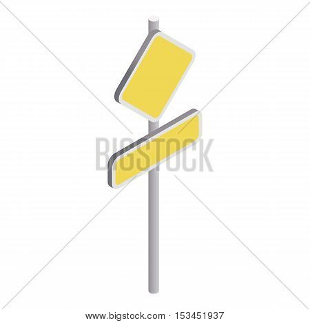 Yellow road sign icon. Isometric 3d illustration of yellow road sign vector icon for web