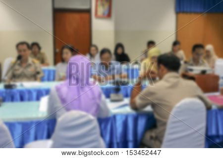 blurred focus Business abstract education training conference or room seminar meeting analyze Statistics Financial Concept