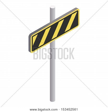 Road sign yellow and black stripes icon. Isometric 3d illustration of road sign yellow and black stripes vector icon for web