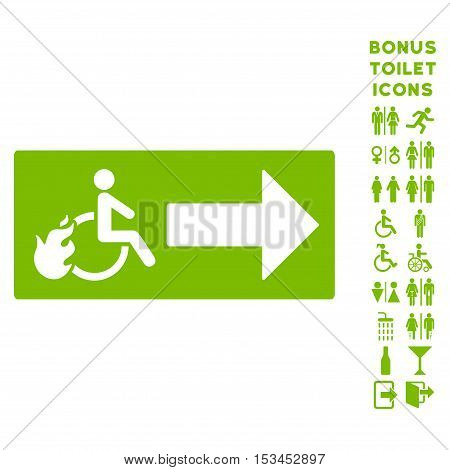Patient Exit icon and bonus gentleman and female restroom symbols. Vector illustration style is flat iconic symbols, eco green color, white background.