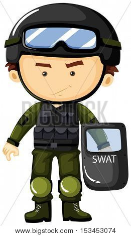 SWAT man in green safety suit illustration
