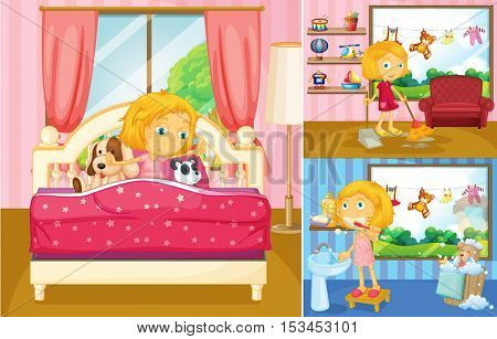 Girl doing different activities at home illustration