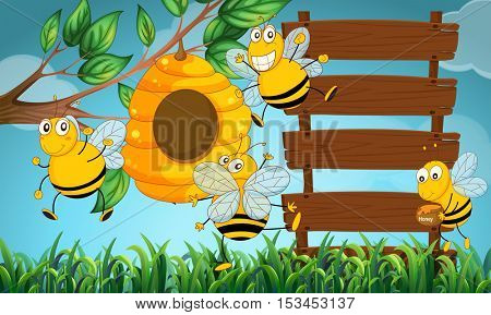 Scene with wooden boards and bee flying in garden illustration