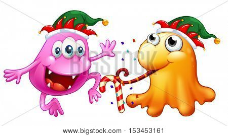 Christmas theme with two monsters at party illustration