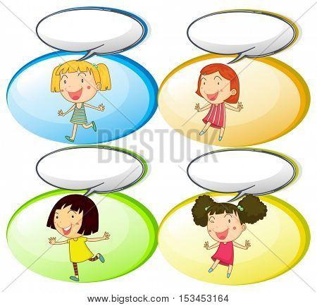 Little girls and communication bubbles illustration