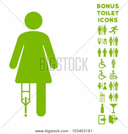 Patient Woman icon and bonus gentleman and lady lavatory symbols. Vector illustration style is flat iconic symbols, eco green color, white background.