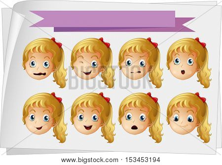 Girl faces with different emotions illustration