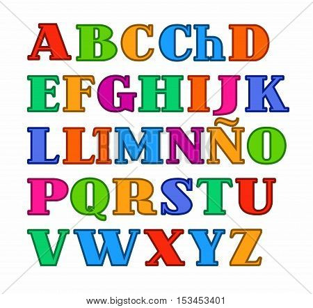Spanish alphabet, uppercase colored letters with the contour vector. Vector colored serif font and a subtle contour on white background.
