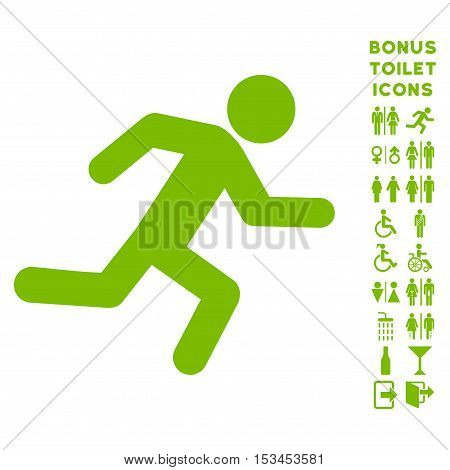 Running Man icon and bonus male and lady restroom symbols. Vector illustration style is flat iconic symbols, eco green color, white background.