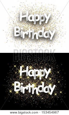 Happy birthday paper cards set with shining sand. Vector illustration.