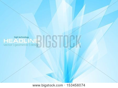 Cyan abstract tech geometric shapes design. Bright abstract vector design