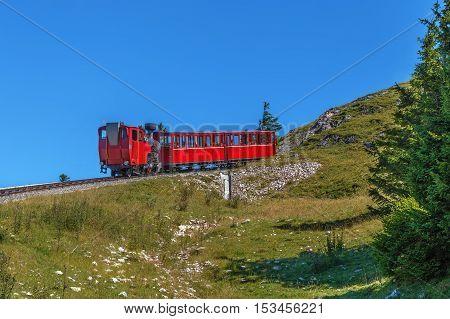 Schafberg Railway is a metre gauge cog railway leading from Sankt Wolfgang im Salzkammergut up to the Schafberg (1783 m) Austria