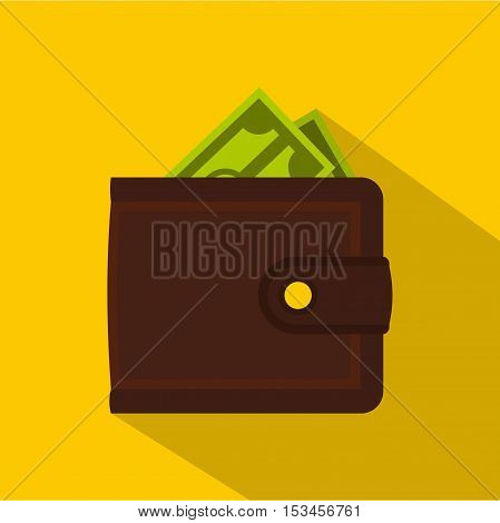 Leather purse icon. Flat illustration of leather purse vector icon for web