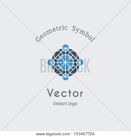 Geometric logo template. Vector blue modern symbol or emblem