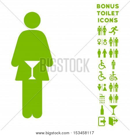 WC Woman icon and bonus gentleman and lady lavatory symbols. Vector illustration style is flat iconic symbols, eco green color, white background.