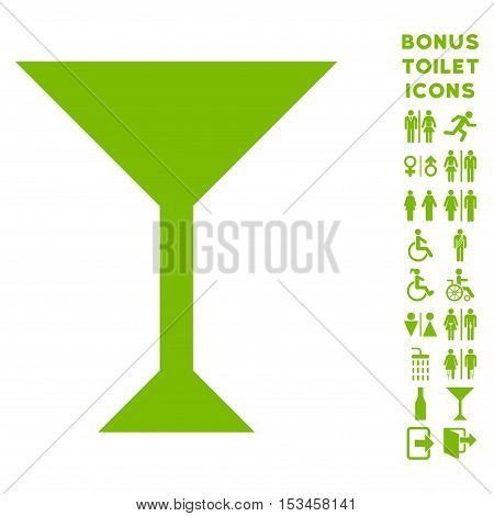 Wine Glass icon and bonus man and woman restroom symbols. Vector illustration style is flat iconic symbols, eco green color, white background.