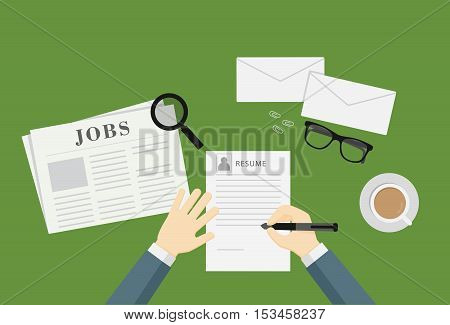 People Writing A Resume To Apply Job Vacancy