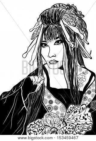 stylized cartoon geisha woman (japanese dancing actress). Hand drawn sketch