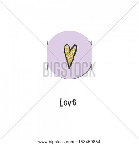 Greeting card with heart. Label.