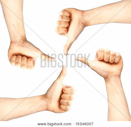 Set Of Four Hands With Thumb Up Isolated On White