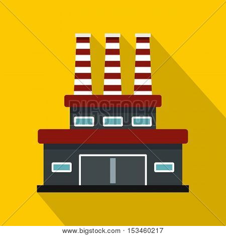 Large oil refinery icon. Flat illustration of large oil refinery vector icon for web