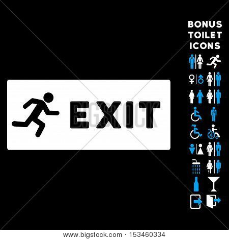 Emergency Exit icon and bonus gentleman and lady restroom symbols. Vector illustration style is flat iconic bicolor symbols, blue and white colors, black background.