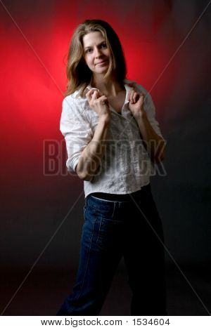 Attractive Woman Against Red Background (Ki)