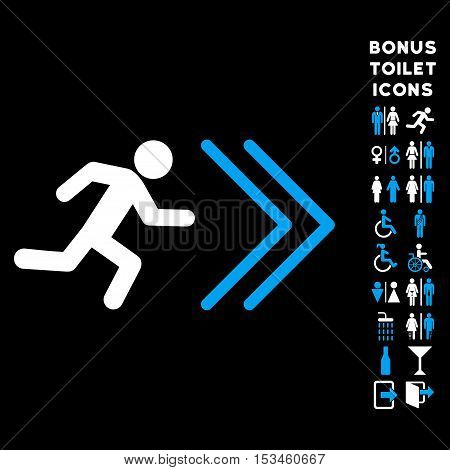 Exit Direction icon and bonus male and female WC symbols. Vector illustration style is flat iconic bicolor symbols, blue and white colors, black background.