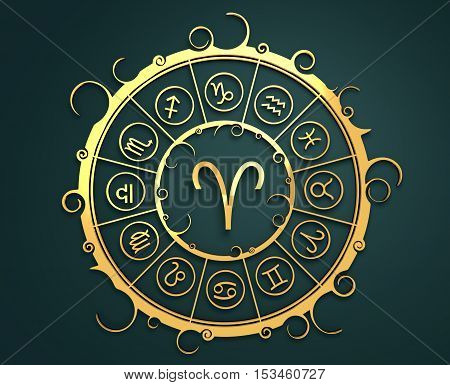Astrological symbols in the circle. Golden emblem. Metallic material. 3d rendering. The ram sign