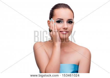 Beautiful woman in fashion concept isolated on white