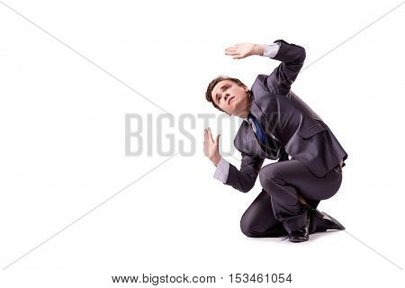 Funny businessman isolated on the white background