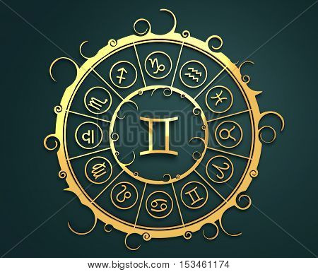Astrological symbols in the circle. Golden emblem. Metallic material. 3d rendering. The twins sign