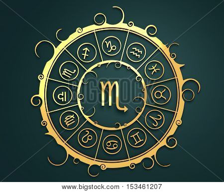 Astrological symbols in the circle. Golden emblem. Metallic material. 3d rendering. The scorpion sign