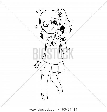 illustration vector hand drawn doodle of teenage girl singing with microphone in her hand.