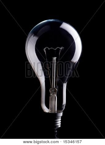 Photo of light bulb on black background