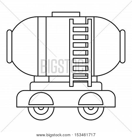 Waggon storage tank with oil icon. Outline illustration of waggon storage tank with oil vector icon for web