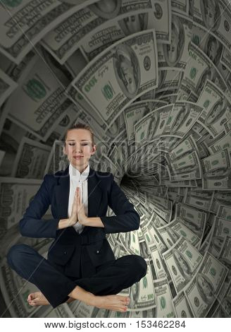 Woman in business concept with dollar whirlpool