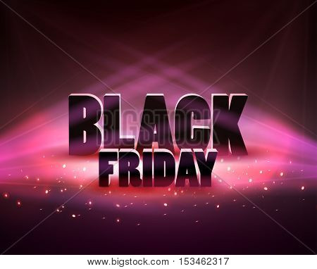 Black friday sale backgroundwith red lights. Vector illustration