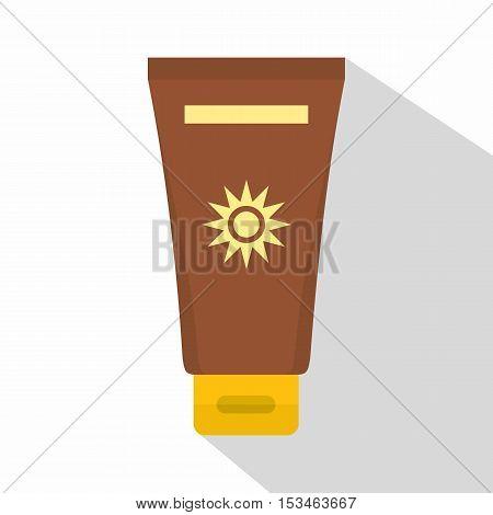 Cream sun protection icon. Flat illustration of cream sun protection vector icon for web