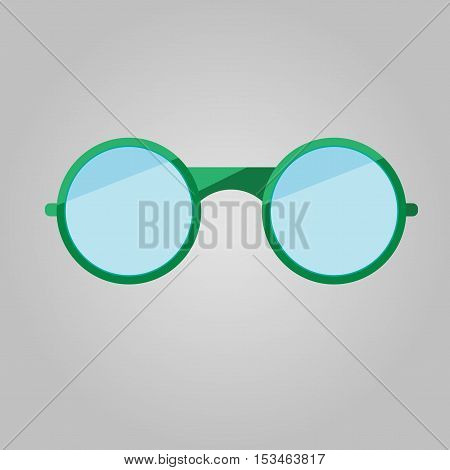Glasses vector illustration green round flat. Glasses vector. Glasses drawing. Glasses JPG