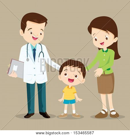 Vector illustration of a mom and son in doctor's office.Mother and a little son visiting the doctor.Doctorchildrenwoman standing and smile.Mother and child daughter visit a family doctor.