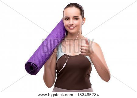 Woman in sports concept with thumb up
