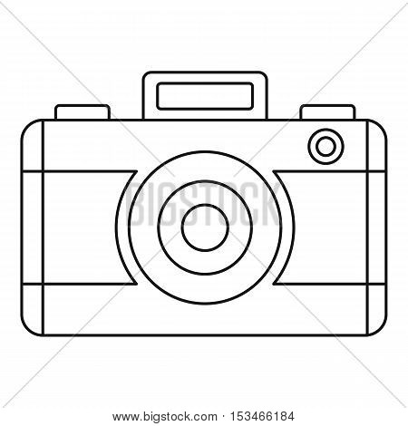 Photo camera icon. Outline illustration of photo camera vector icon for web