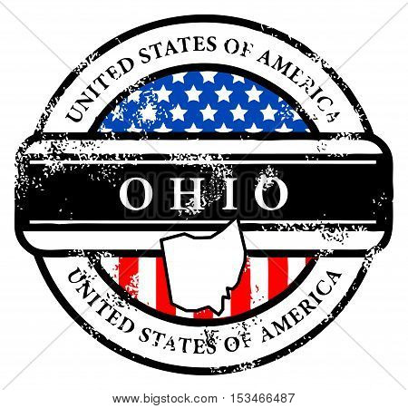 Grunge rubber stamp with name of Ohio, vector illustration