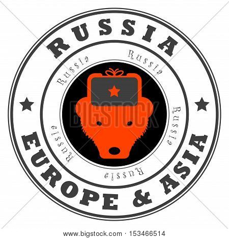 Grunge rubber stamp with word Russia, Europe and Asia inside, vector illustration