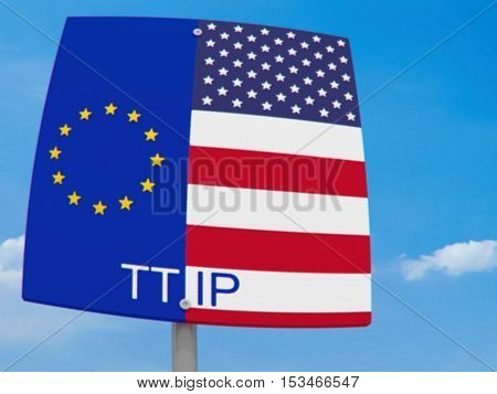 TTIP: USA And EU Flag Road Sign Against A Cloudy Sky blurry cartoon style 3d illustration